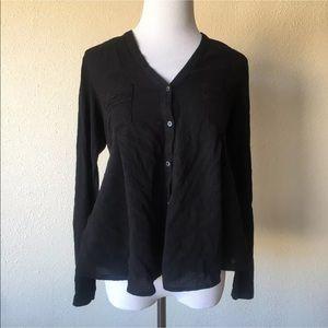 Anthropologie meadow rue black long sleeve blouse